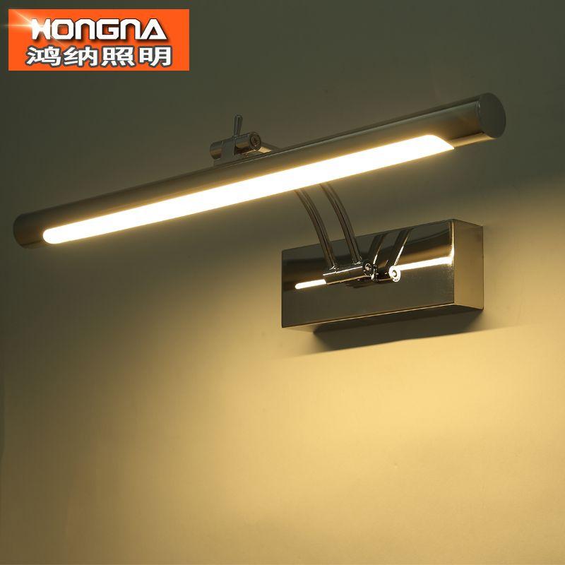 Freies verschiffen 7 Watt FÜHRTE Spiegelleuchte 40 CM Mode-stil Bad Wandleuchte 220 V LED Wandleuchte Edelstahl stahl Material