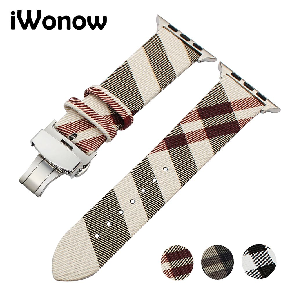 Genuine Leather Watchband for iWatch Apple Watch 38mm 42mm Series 1 2 3 <font><b>Grid</b></font> Pattern Replacement Band Steel Buckle Wrist Strap