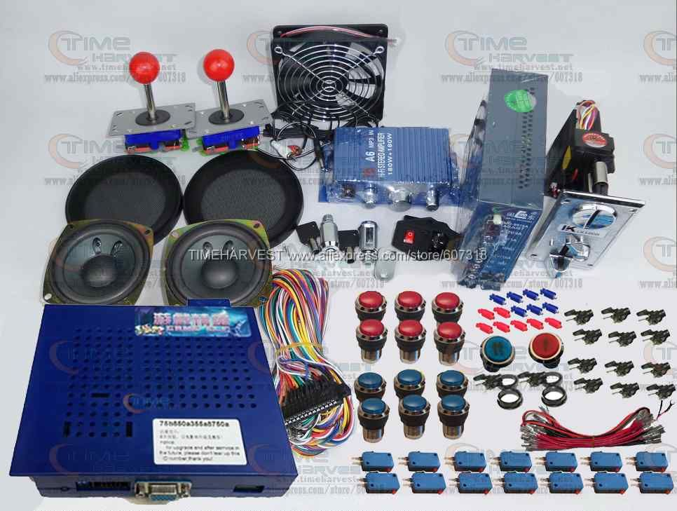 Arcade parts Bundles kit With Game elf 750 in 1 games Joystick LED Chrome illuminated Player Button Build Up Arcade Game Machine