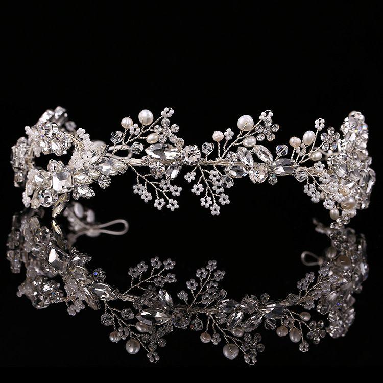 2019 Baroque couronne or/argent à la main strass bandeau vintage mariée cheveux accessoires chapeaux accessoires couronne et diadème