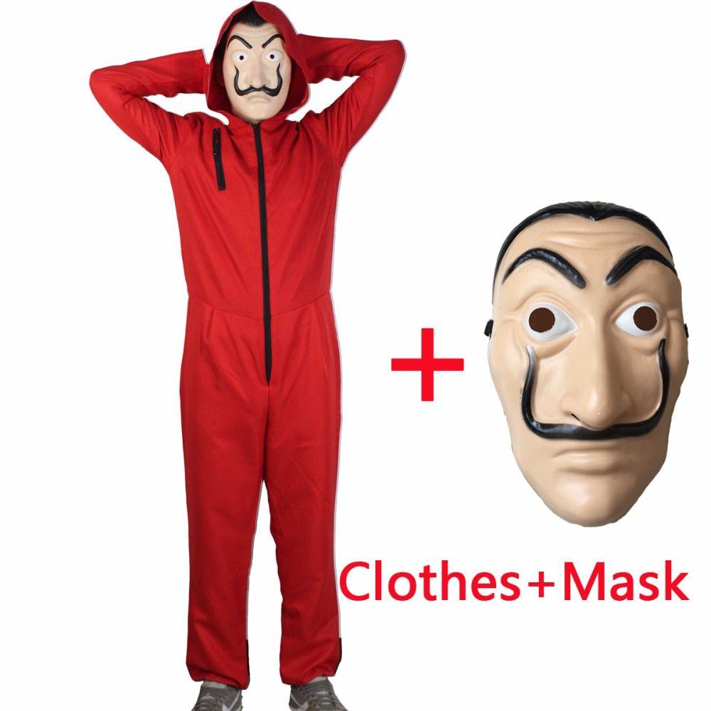Salvador Dali Film De L'argent Costume Hold-Up Du Maison De Papier La Casa De Papel Cosplay Halloween Costumes De Fête avec Le Visage masque