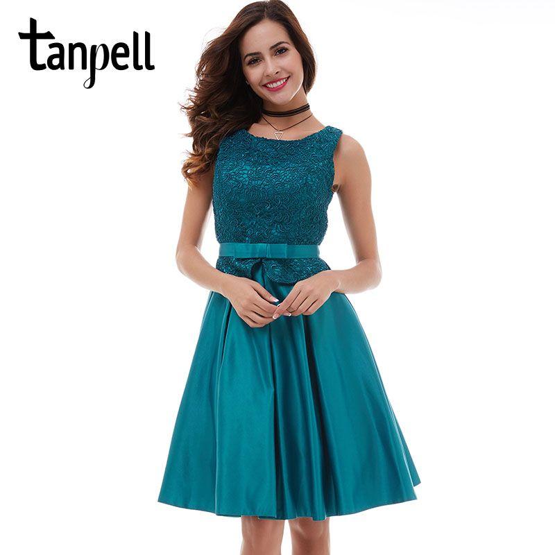 Tanpell Синий Homecoming платье пикантные черные кружевные Scoop рукавов Платье трапециевидной формы дешевые молнией Коктейль Выпускные платья