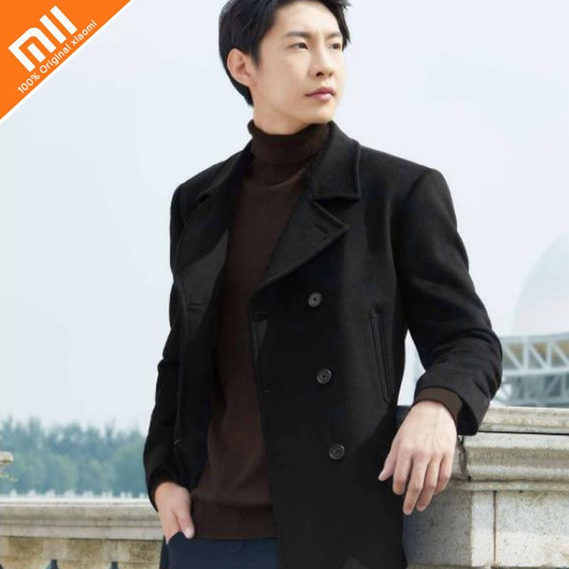 Original xiaomi mijia men's pure wool British wind short coat 100% wool anti-wrinkle warm new fashion wild gentleman windbreaker