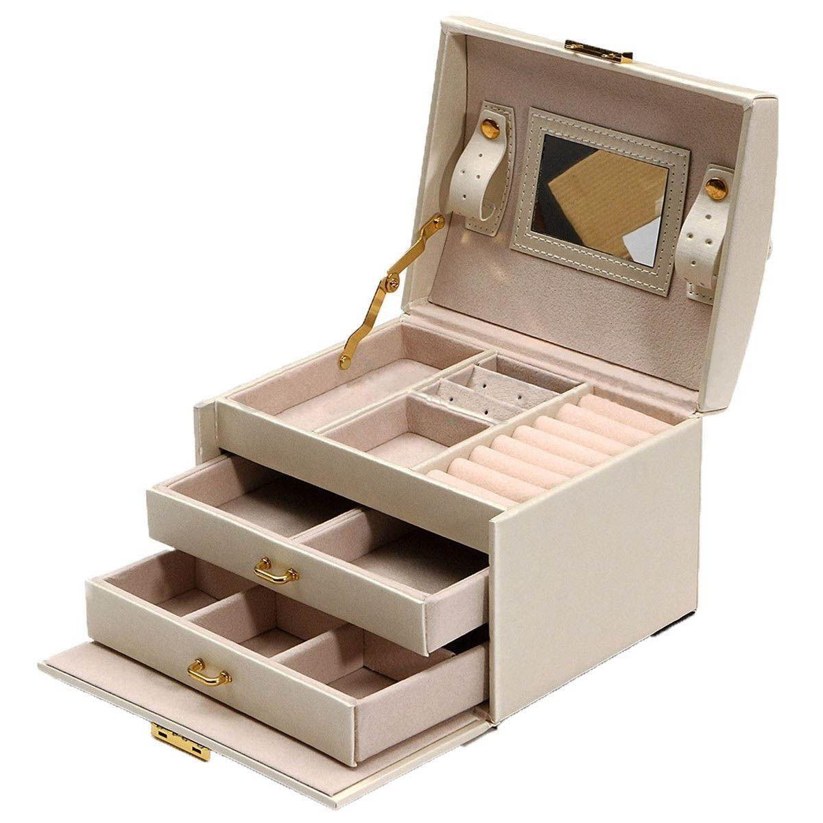 Grand Bijoux Packaging & Display Boîte Armoire Dressing Poitrine avec Fermoirs Bracelet Anneau Organisateur Mallettes