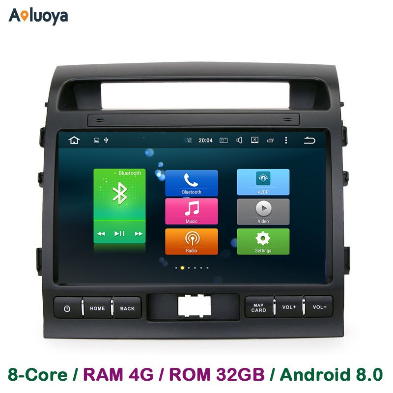 Aoluoya 4GB RAM Android 8.0 Car DVD Radio GPS Navigation For Toyota Land Cruiser 200 LC200 2008-2015 Car audio multimedia DAB+