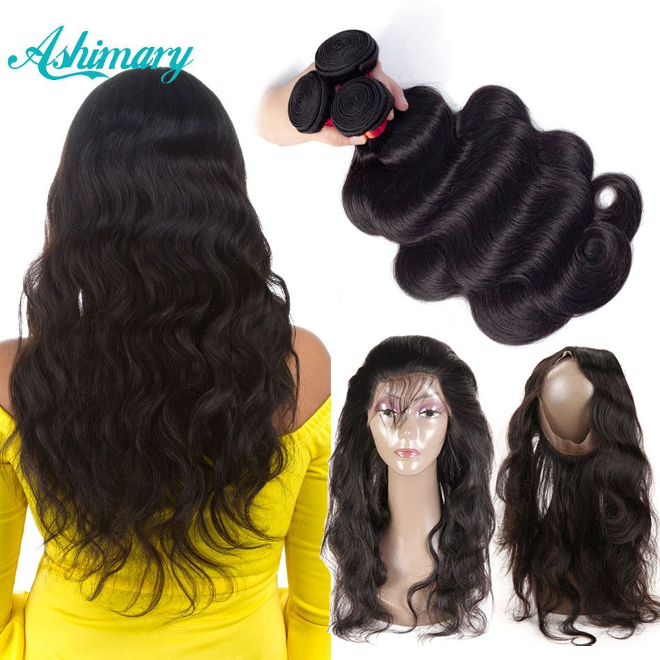 Ashimary 360 Lace Frontal Closure with Bundles Brazilian Body Wave Human Hair 360 Lace Frontal with Bundle Remy Hair Weaves