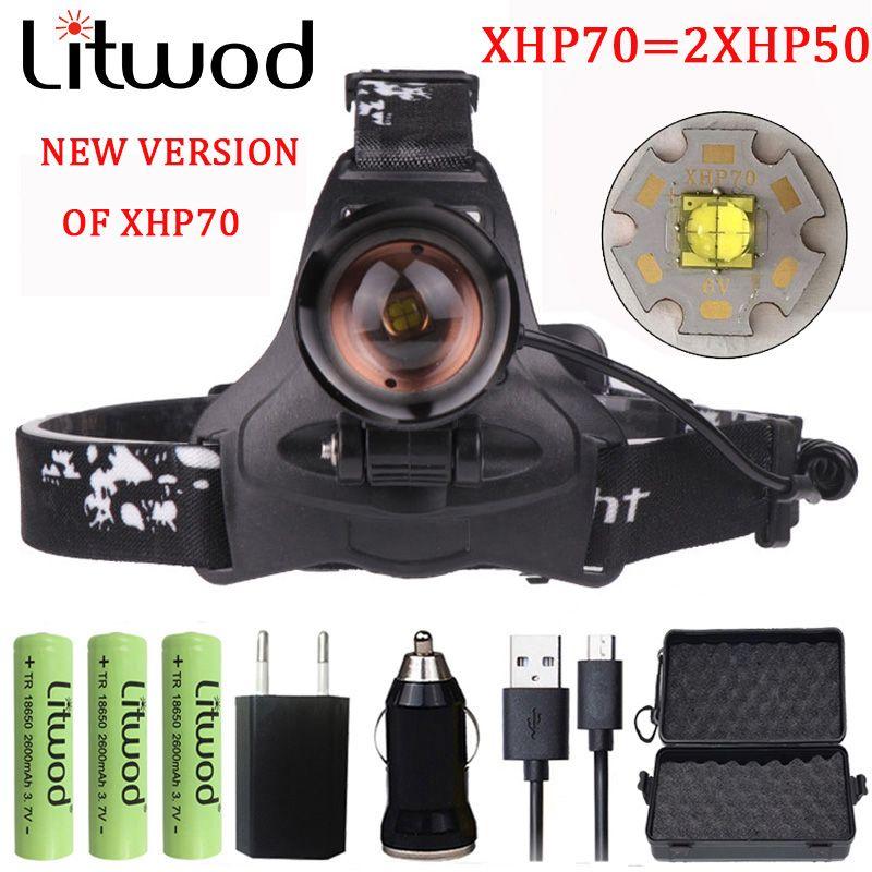 Litwod Z222806 32W CREE XHP70 Led headlamp Headlight 32000lum high power head lamp torch zoom lens 18650 battery Head light