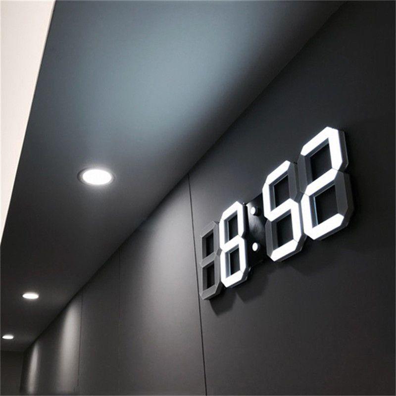3D LED Wall Clock Modern Digital Alarm Clocks Display Home Kitchen Office Table <font><b>Desk</b></font> Night Wall Clock 24 or 12 Hour Display