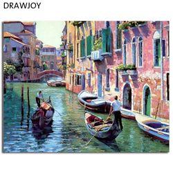 Пейзаж Венеции картины без рам живопись по номерам DIY цифровой холст расписанную маслом город воды Home Decor G086
