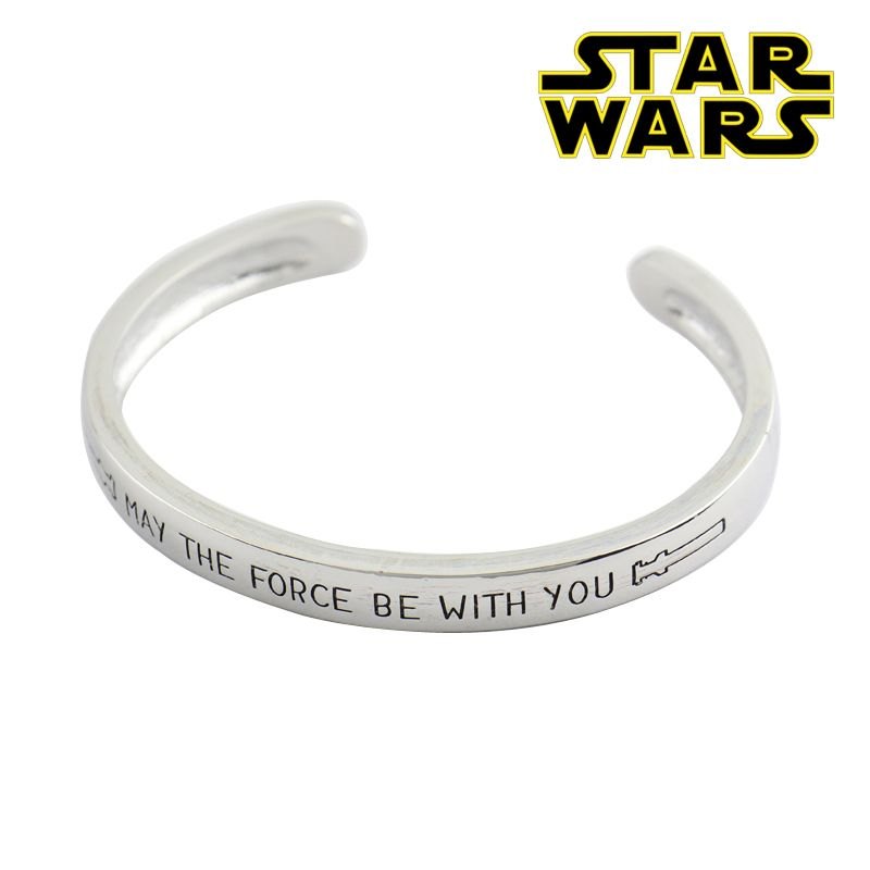 2016 Star Wars Bangles the Force Awakens may the Force be with you Hand Stamped Open Bangles Lightsaber Symbol Stretch Bracelet