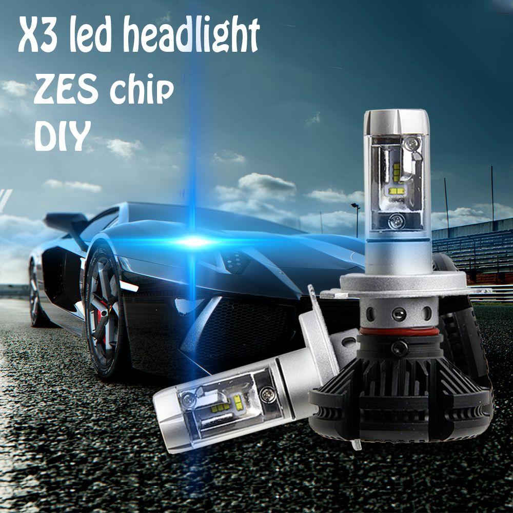 X3 H1 H3 H4 H7 H11 9005 9006 Car LED Headlights Bulbs 50W 6000LM with Philips ZES Chips 6500K Car LED Headlamp Light Sourcing