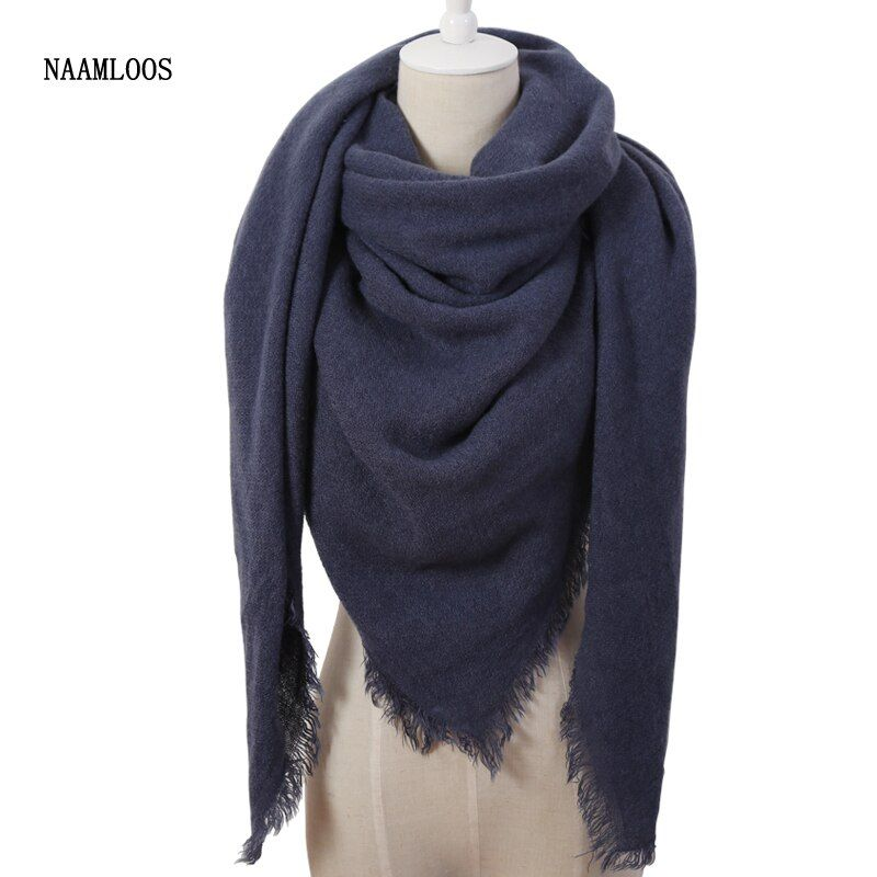 Hot Fashion Solid Color Winter Square Scarf Women Oversize Blankets Luxury brand Shawl Cashmere echarpe Cape Size 140cmx140cm