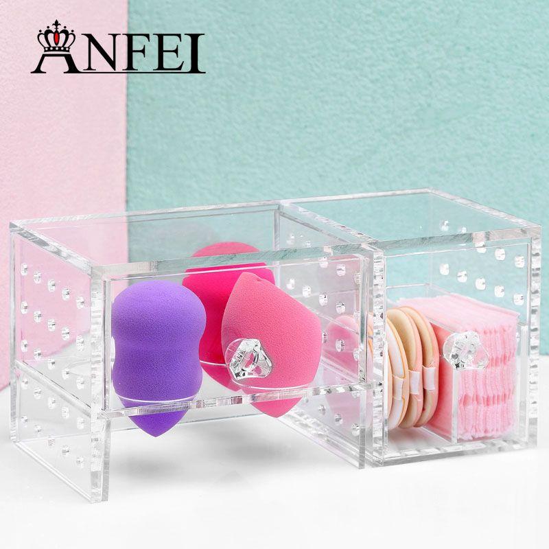 New Style Mini 1 Pc Clear Acrylic Lipstick Holder Cotton Swab Box Cosmetic Case Jewelry Organizer Storage Box With Drawer