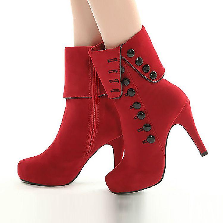 Women boots High heel flock boots 2018 hot women ankle boots