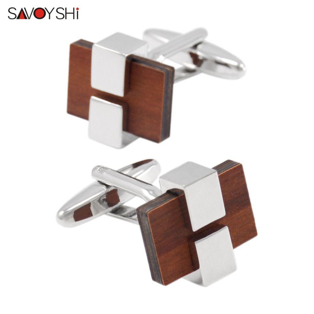 Boutons de manchette en bois de luxe SAVOYSHI pour hommes boutons de manchette en bois de haute qualité boutons de manchette en bois marque bijoux de mode nom personnalisé gratuit