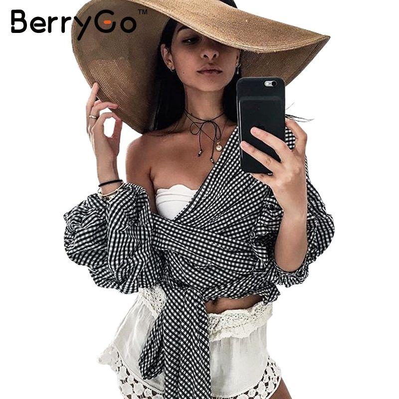 BerryGo Off shoulder ruffle <font><b>white</b></font> blouse Sexy cotton cool blouse shirt women Winter 2016 female strappy top tees blusas