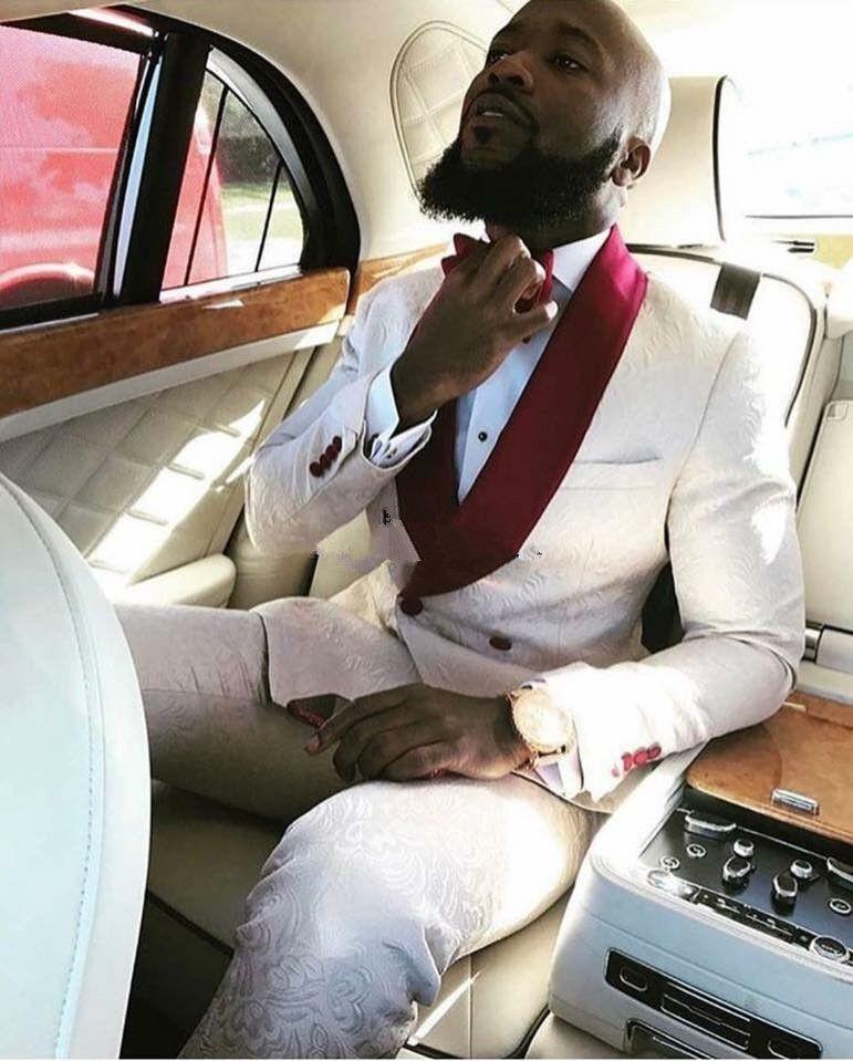 2017 Latest Coat Pant Designs Ivory Pattern Red Shawl Lapel Men Suit Slim Fit 2 Piece Skinny Tuxedo Custom Groom Suits Masculino