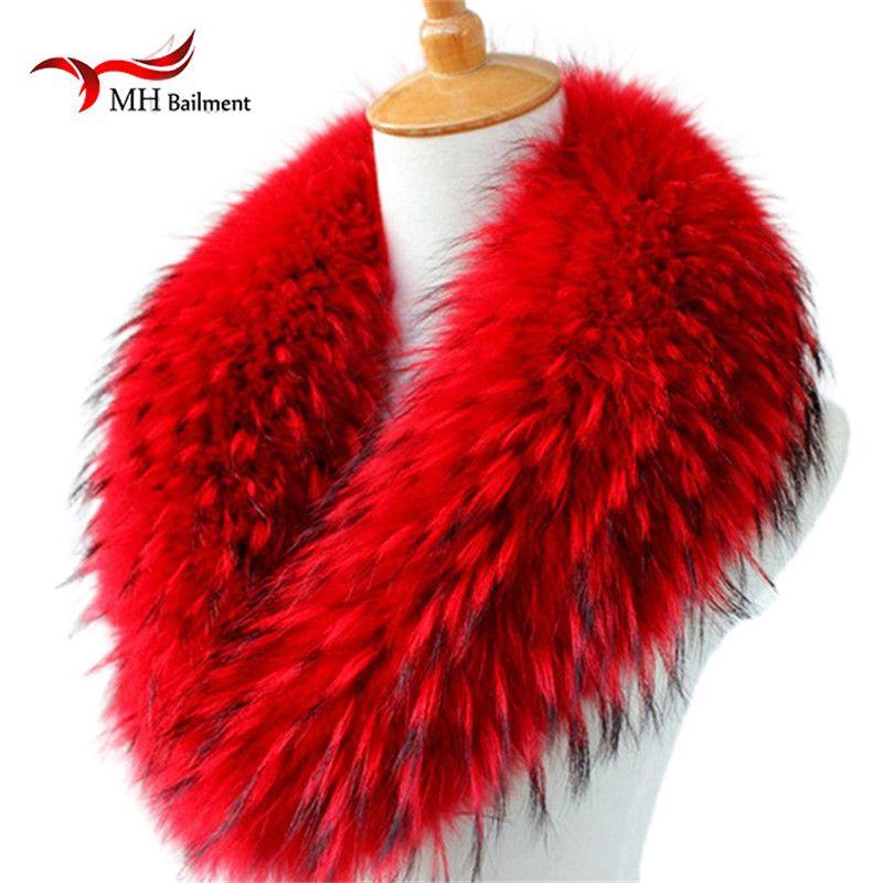 Echt Waschbären Pelz Schals Frau 100% Reine Natürliche Waschbären Pelz Kragen Warme Winter Schals Red Fox Pelz Kragen L #1