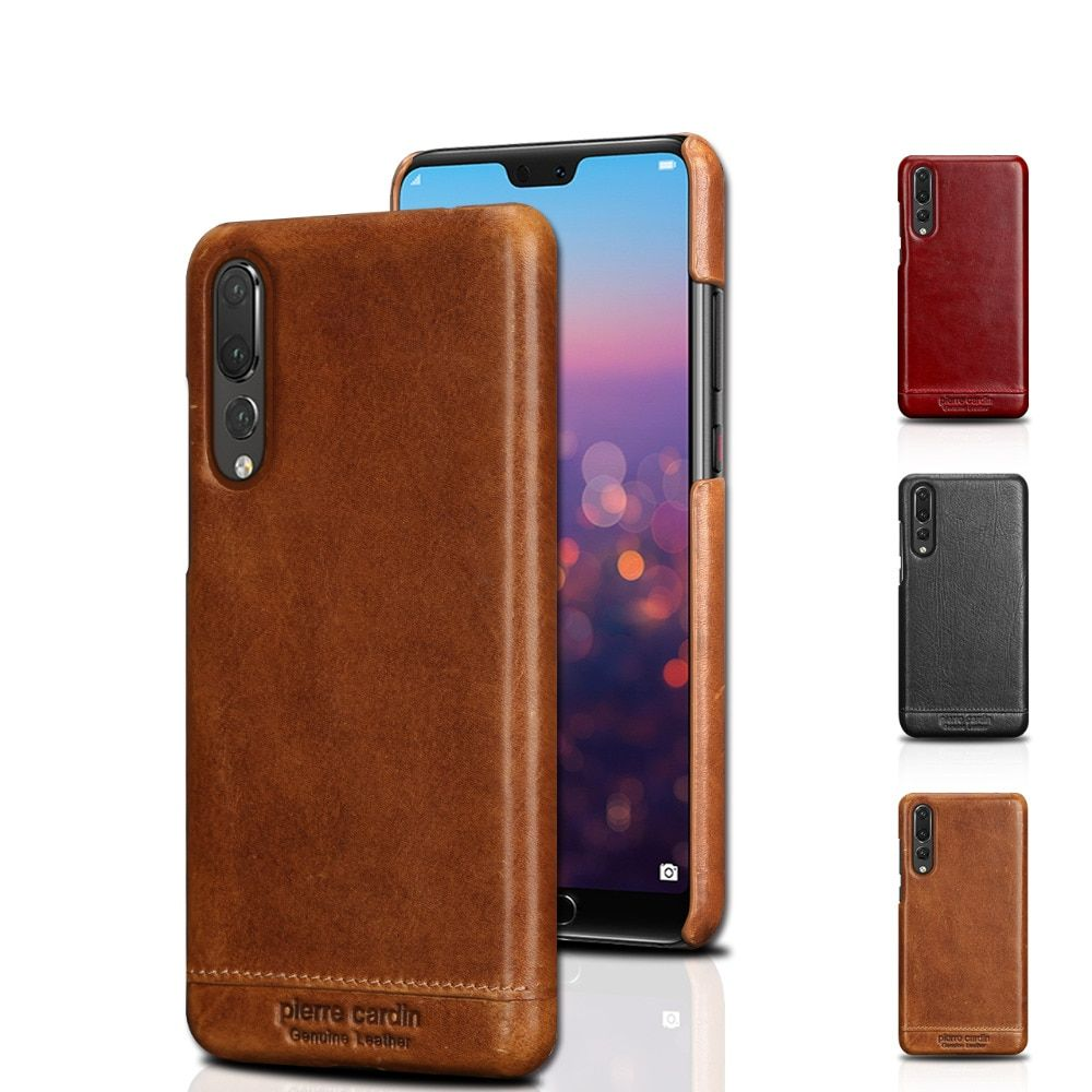 New Pierre Cardin Retro Genuine Leather Hard Back Case Cover Ultrathin protective sleeve For Huawei P20 Pro Case Free Shipping