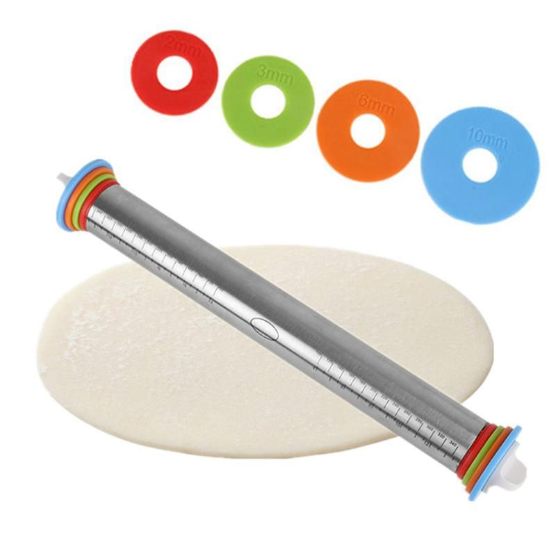 1pc Length Adjustable Rolling Pin Stainless Steel <font><b>Discs</b></font> Non-Stick Removable Rings Dough Dumplings Noodles Pizza Baking Tools