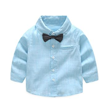 Tem Doger Baby Boys Gentleman Shirts Long Sleeve Cotton Stripe Bowtie Tops Infants Newborn Toddler Outfits