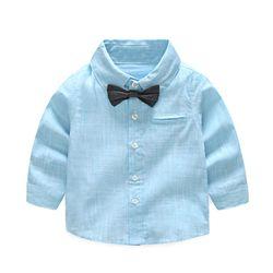 Tem Doger Bayi Laki-laki Pria Kemeja Lengan Panjang Katun Stripe Bowtie Tops Bayi Newborn Balita Pakaian