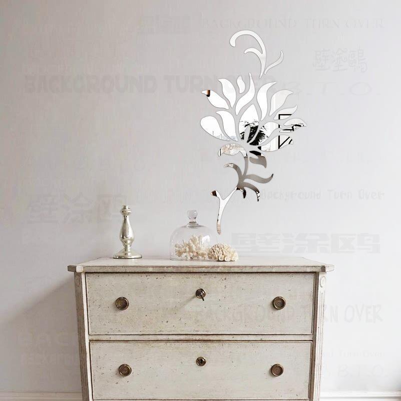 DIY Primavera Naturaleza Elegante Flor de Loto Espejo Acrílico Pegatinas de Pared Decoración Del Dormitorio Salón Cocina Decoración Del Hogar Mural R186