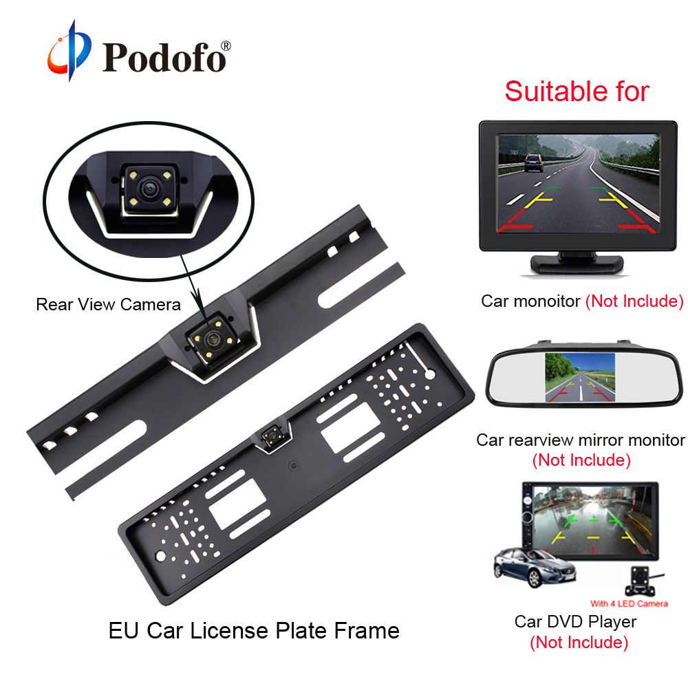Podofo Car Rear View Camera Waterproof EU European License Plate Frame Parktronic Reverse 4 LED Night Vision Backup Camera