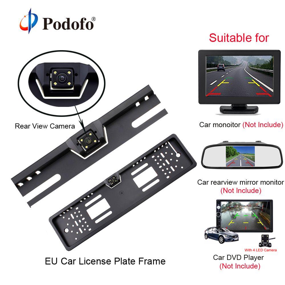 Podofo Car <font><b>Rear</b></font> View Camera Waterproof EU European License Plate Frame Parktronic Reverse 4 LED Night Vision Backup Camera