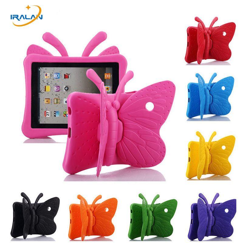 2017 hot Enfants EVA 3D Papillon tablet Caoutchouc Cas pour Apple iPad 2 3 4 9.7 pouce Antichoc Stand Couverture avec Poignée Mignon + Stylus
