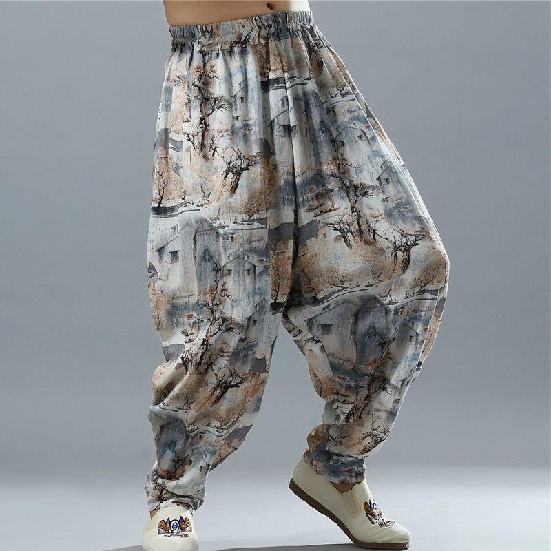 Newest Men's Cotton Linen Big Drop Crotch Pants Hippy Boho Harem Wide leg Full Length Trousers Casual Baggy Pants L-XL