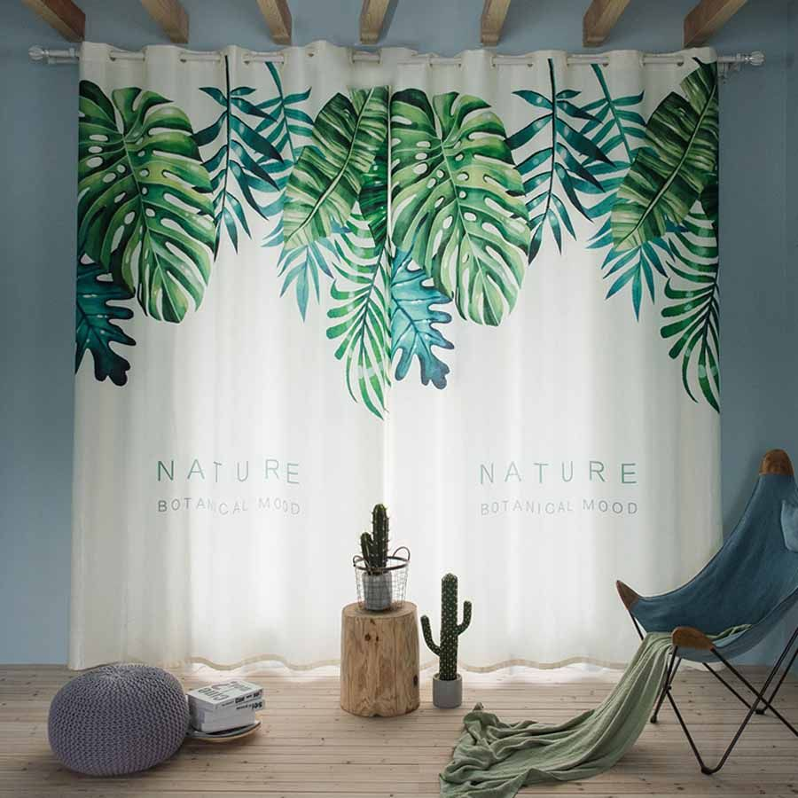 Balcony Curtains Free Shipping.Customized Size Modern Nordic Green Plant Leaves Digital Printing Curtains for Window.