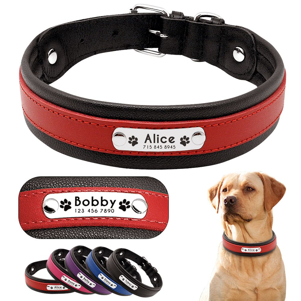 Personalized Leather Dog Collar Customized Engraved Pet Big Dog Bulldog Collars Padded For Medium Large Dogs Perro Pitbull