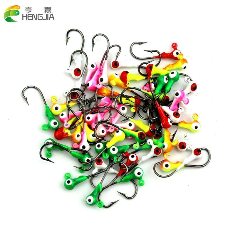 Hengjia 100 pièces tête de gabarit grand œil 1G couleur mélangée leurres de pêche Mini tête crochet pêche gabarits appâts de pêche