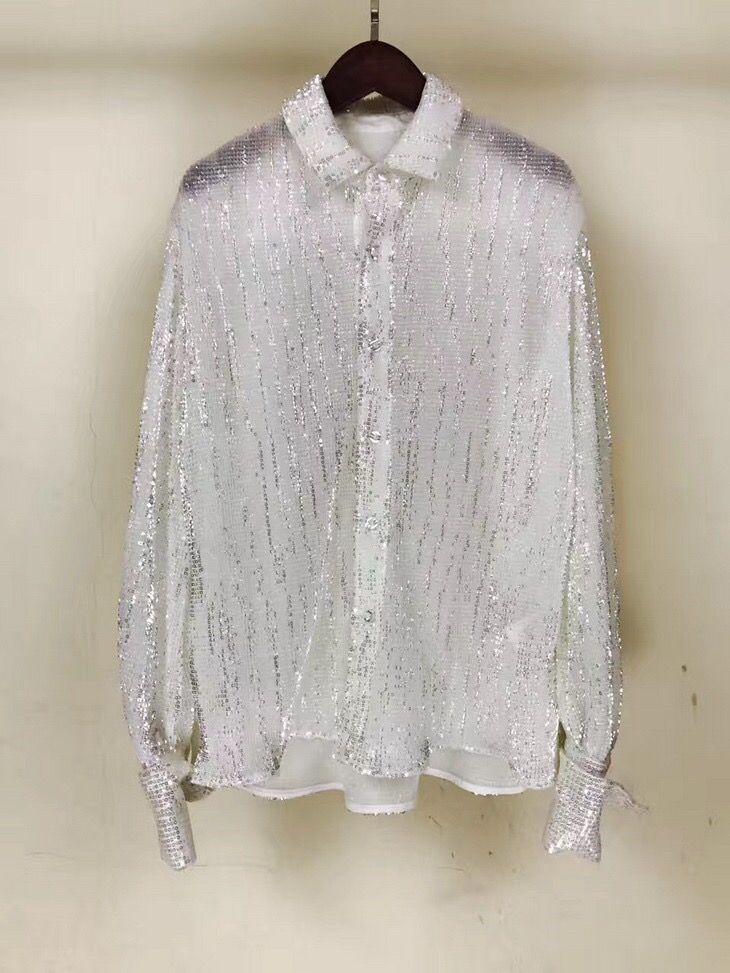 2018 spring new arrive women fashion bling bleading shirt