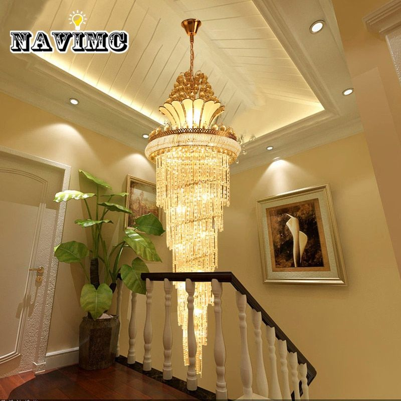 Large Gold Imperial K9 Crystal Chandelier for Hotel Hall Living Room Staircase Hanging Pendant Lamp European Big Lighting