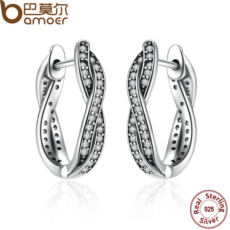 BAMOER Authentic 925 Sterling Silver Twist Of Fate Stud Earrings, Clear CZ for Women Wedding Fashion Jewelry PAS465
