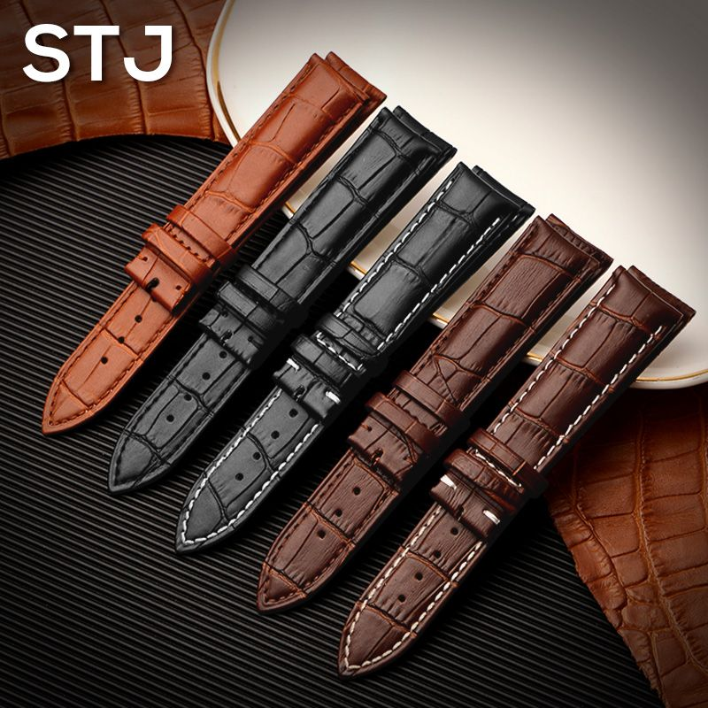 STJ Brand Calf Genuine Leather Black Watch Band Strap for Watchband size 18mm 19mm 20mm 21mm 22mm 24mm Watch wristband Bracelet