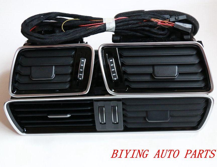 FOR VW LHD Passat B6 B7 CC R36 Chrome Piano Black Air Vent LED Red Light 3AD 819 701 A+3AD 819 702 A+3AD 819 728 A