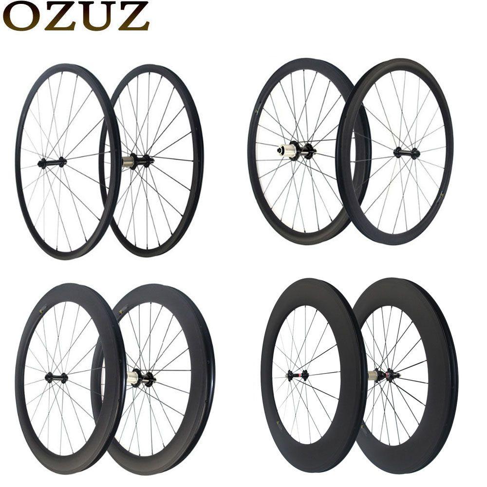 Custom Duty Free OZUZ 700C Carbon Wheel Ultra light 24mm 38mm 50mm 88mm Depth Clincher Tubular Road Bike Wheelset Bicycle Wheel