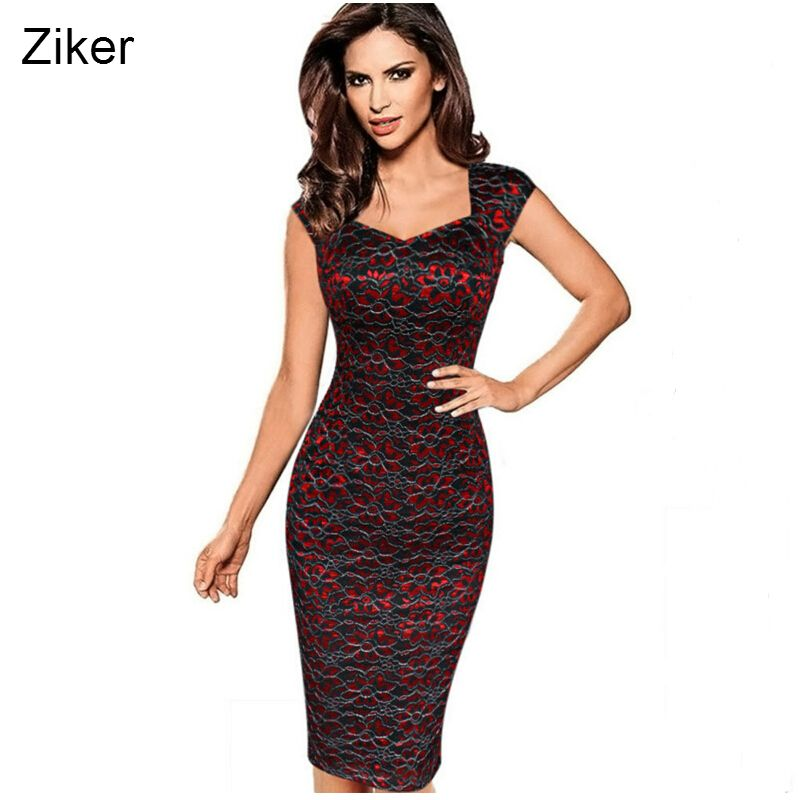Ziker Brand Womens Sexy <font><b>Elegant</b></font> Summer Floral Flower Lace Cap Sleeve Slim Casual Party Fitted Sheath Bodycon Dress vestidos 4XL