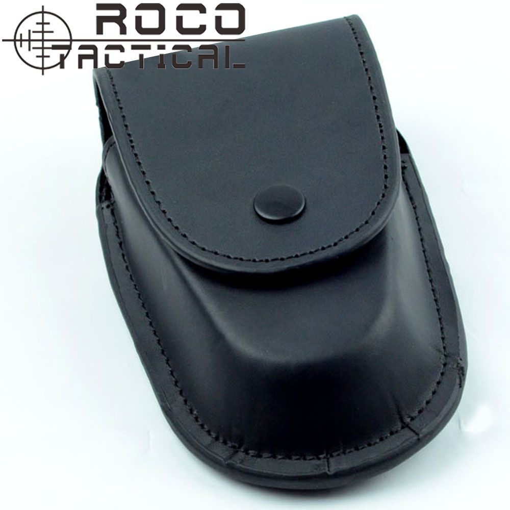ROCOTACTICAL Deluxe Leather Molded Handcuff Case Police Waist Handcuff Belt Pouch Holder Cuff Pouch Black