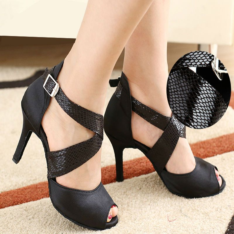 Latin dance shoes woman Ballroom latin dance shoes Low discount Snakeskin laces High-grade satin sandals Soft bottom For girl