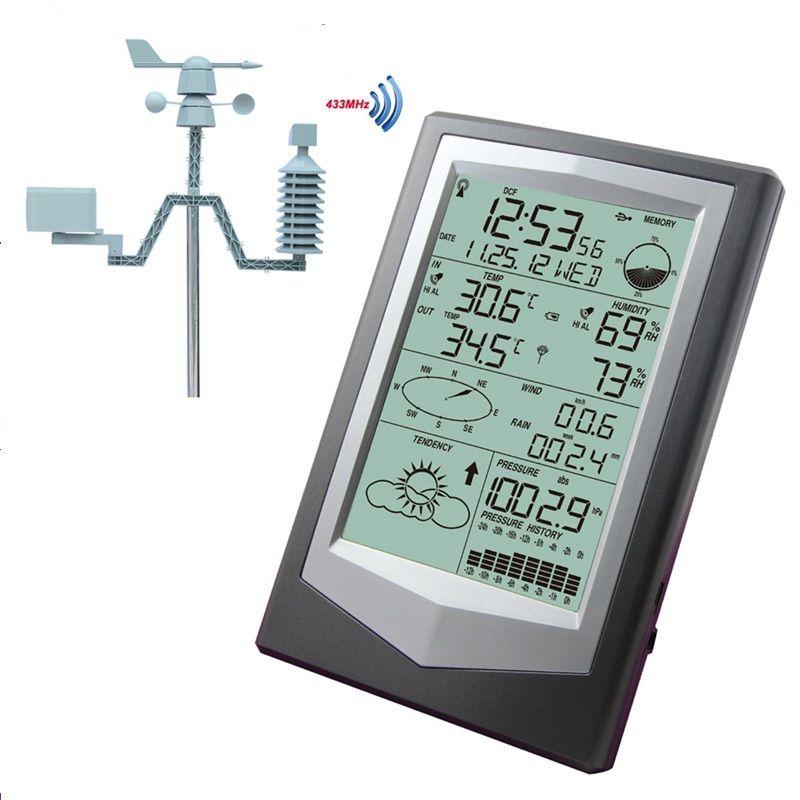 Station météo sans fil avec PC Link ménage grand thermomètre LCD hygromètre pression barométrique horloge de prévision météo WS1040