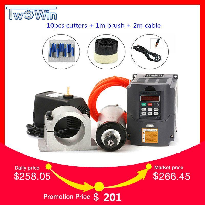 Wasser Gekühlt Spindel Kit 2.2KW CNC Fräsen Spindel Motor + 2.2KW VFD + 80mm clamp + wasser pumpe/ rohr + 13 stücke ER20 für CNC Router