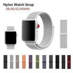 Sport Nilon Tali Band untuk Apple Watch 3 42 Mm 38 Mm Pergelangan Tangan Gelang Sabuk Kain Seperti Nilon band untuk IWatch 4/3/2/1/40 Mm 44 Mm