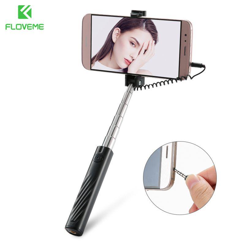 FLOVEME Mini Wired Selfie Stick Für iPhone Erweiterbar Handheld Falten Selfie Sticks Für Huawei Tragbare Einbeinstativ Stick Für Selfie