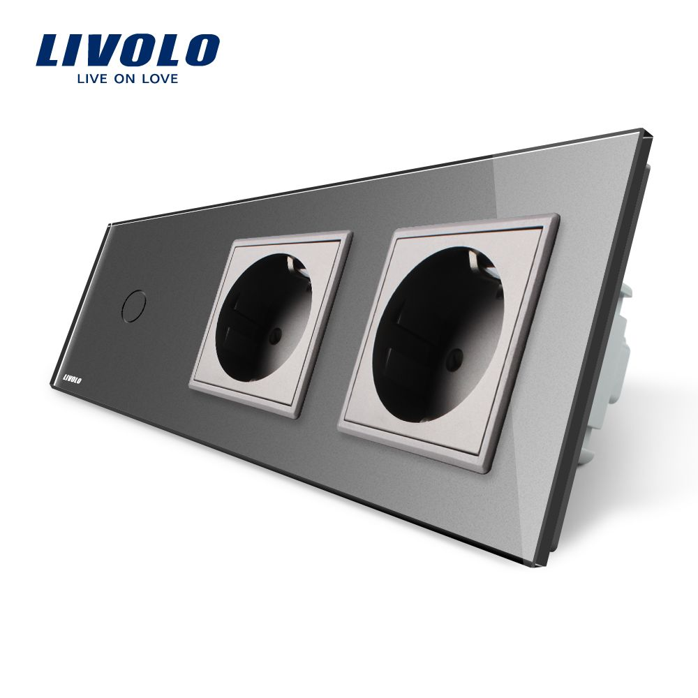 Livolo New Power Socket, ,AC 220~250V, Gray Glass Panel, 2Gang Wall Sockets with Touch Switch VL-C701-15/VL-C7C2EU-15
