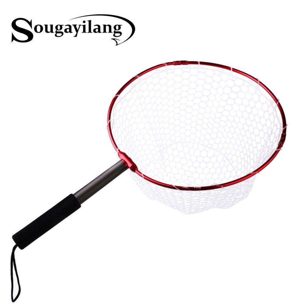 Sougayilang Retractable Fishing Brail Net Red Soft Rubber Fly Fishing Landing Net 65x40x27cm Large Mesh Hand Dip Net