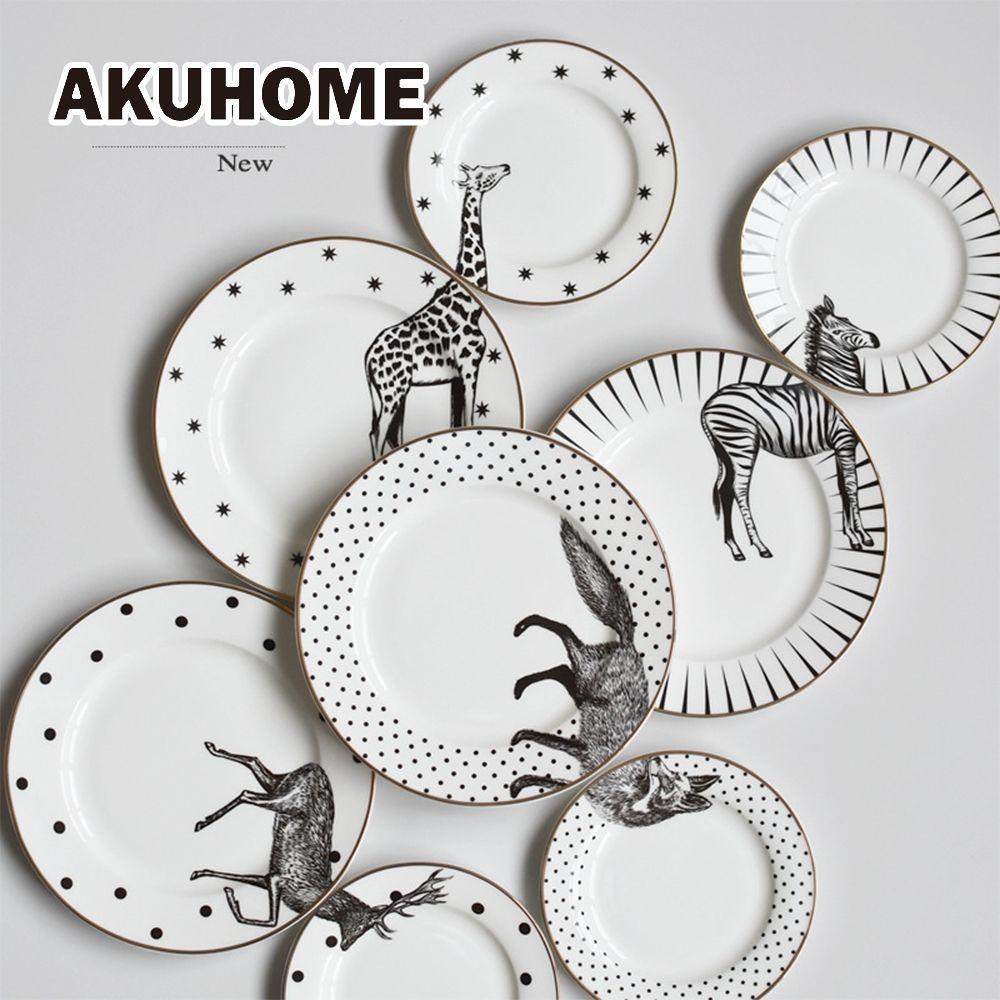 2 Pcs 6&8 Inch Animal Combined Plates Set <font><b>Ceramic</b></font> Plates Fox Elk Giraffe Zebra Pattern Plates Steak Breakfast Cake Fruits Dish